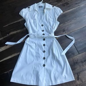 NEW White Cotton Dress with Button Down Front
